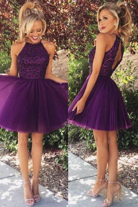 Homecoming Dress,Sexy Halter Neck Homecoming Dresses for Juniors Short 2017