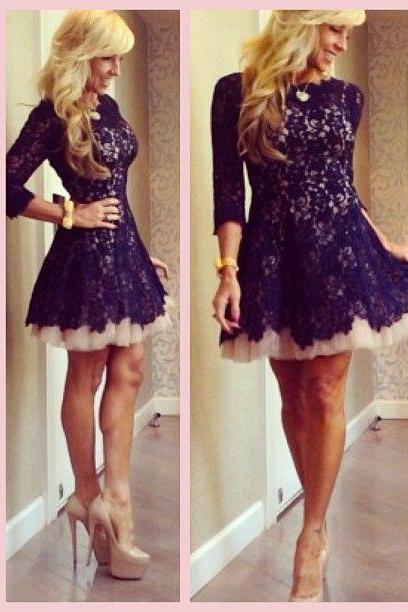 Homecoming Dress,Sexy Lace Long Sleeves Homecoming Dresses for Juniors Short 2017